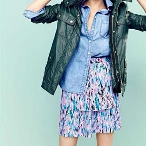 J. Crew two-Tier watercolor pleated skirt